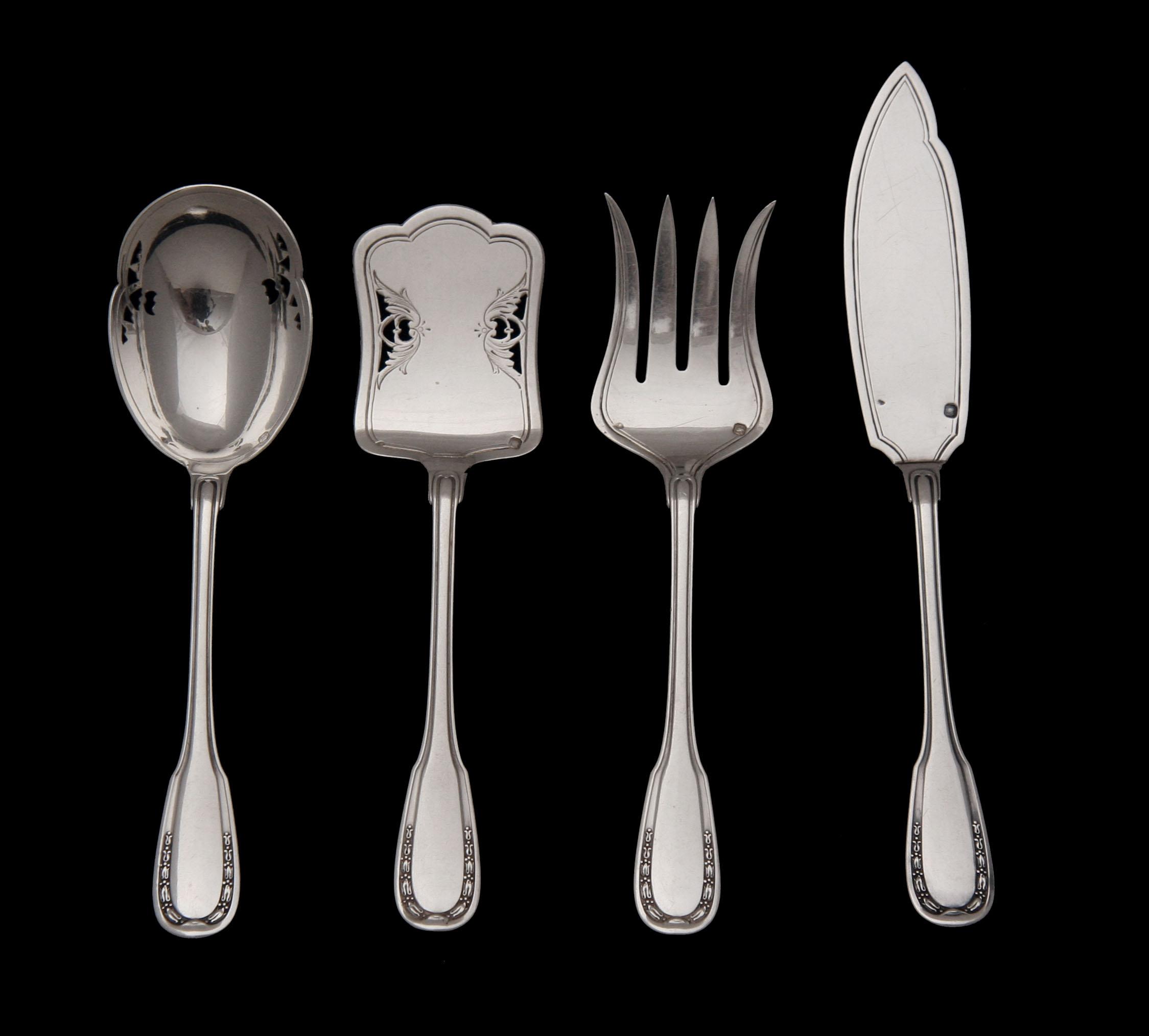 French Sterling Silver Flatware Set Louis XVI