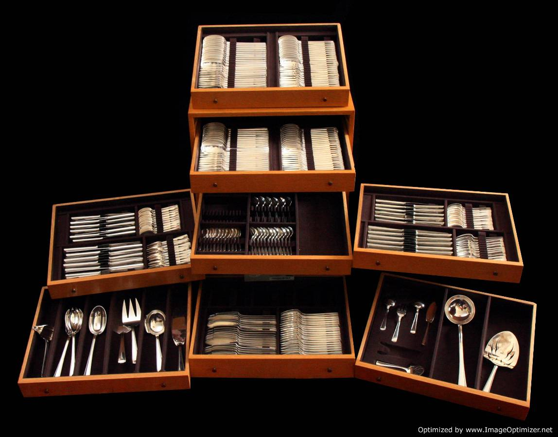 The Chest Showing All The French Art Deco Sterling Silver Flatware Set